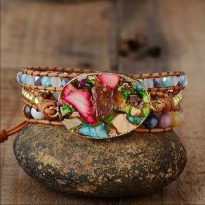 New! Handmade Leather Beaded Women's Boho Bracelet